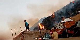 فيديو اندلاع النيران في غابة بوطاعة بأزرو