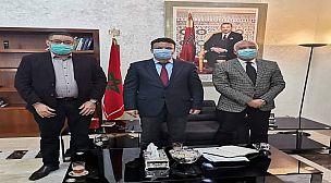 عامل اقليم الرحامنة يستقبل مسؤولي للهلال الأحمر المغربي بولاية مراكش.