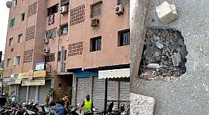 مراكش : ساكنة عمارة جواهر 2 بشارع علال الفاسي تشتكي برفع الضرر بسبب كسر انبوب قنوات الصرف الصحي.